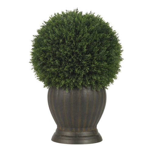 Nearly Natural Cedar Ball Topiary Plant, Green/Brown
