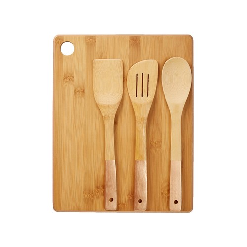 Gold Bamboo Cutting Board & Utensil 4-Piece Set