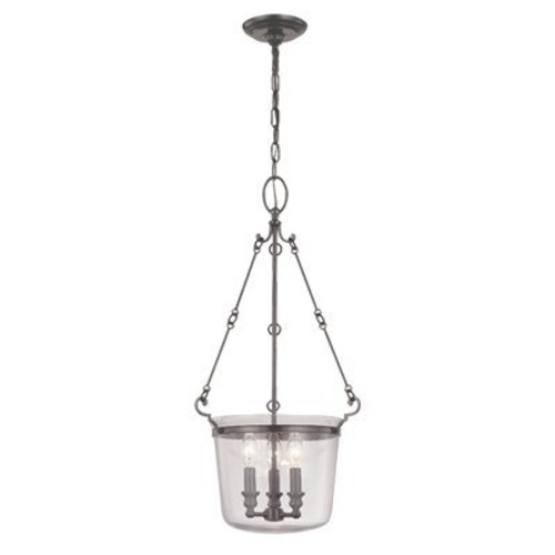 Quinton 3-Light Pendant - Historic Nickel Finish with Clear Glass Shade