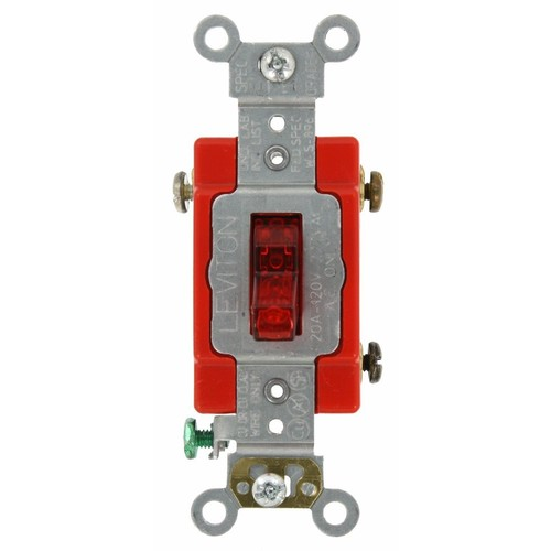 Leviton 1221-PLR 20-Amp, 120 Volt, Toggle Pilot Light, Illuminated On, Req, Neutral Single-Pole AC Quiet Switch, Extra Heavy Duty Grade, Self Grounding, Red [Red]