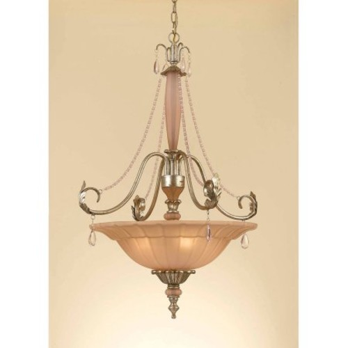 AF Lighting Serena 4-Light Pendant with Blush Glass Shade, Soft G