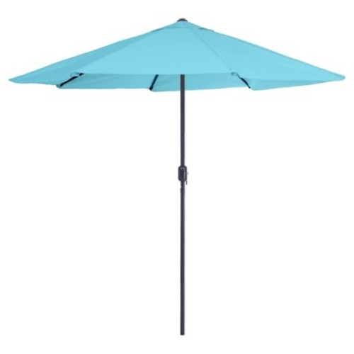 Pure Garden 9 ft. Aluminum Patio Umbrella with Auto Crank in Blue