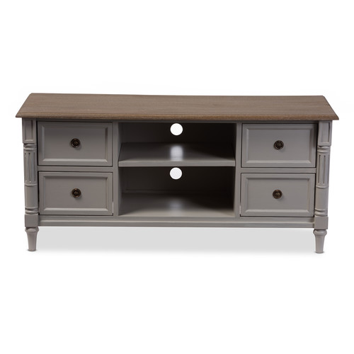 Baxton Studio Edouard French Provincial Style White Wash Distressed Two-tone 4-drawer TV Cabinet