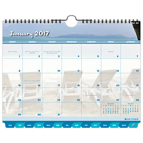 Day-Timer Coastlines Tabbed Monthly Wall Calendar, 8 1/2