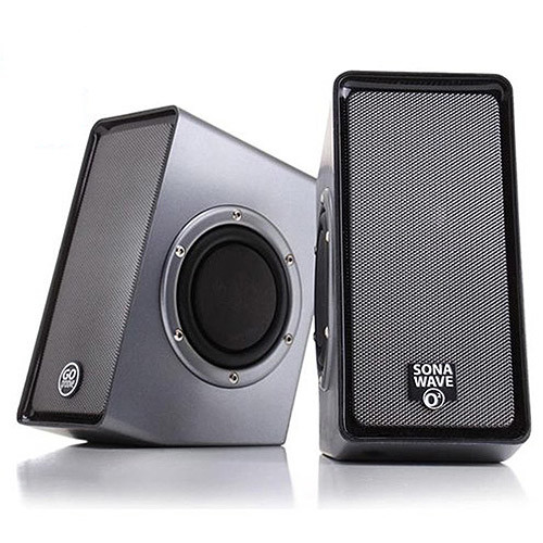 PC Computer USB Powered Speakers w/ 3.5mm AUX Input by GOgroove - SonaVERSE O2 (Black) - 2.0 Channel Dual Passive Bass Woofers, Built-in Volume Dial, Sleek Compact Design Ideal for Desktops & Laptops