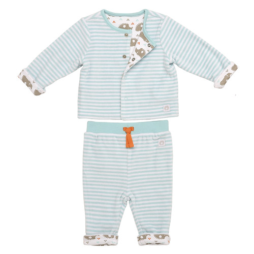 Boppy 2 Piece Blue/White Striped and Animal Printed Snap Front Reversible Cardigan with Matching Pant Set
