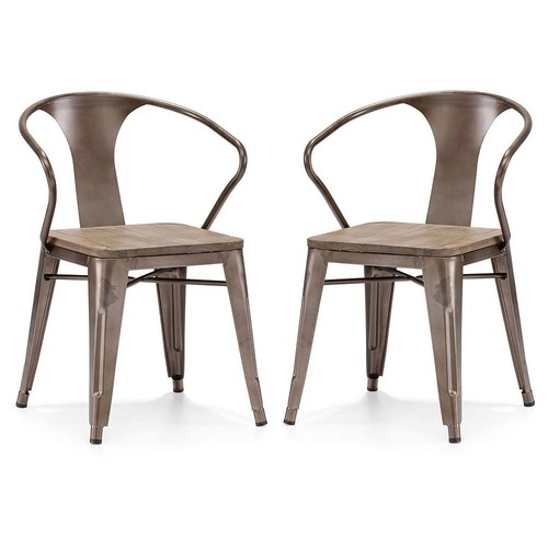 Zuo Helix Dining Chair, Rustic Wood (Set of 2)