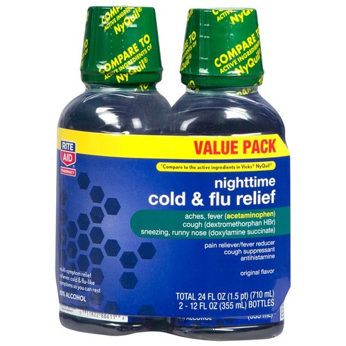Rite Aid NightTime Cold & Flu Relief, Original, Value Pack, 12 fl oz, 2 Count