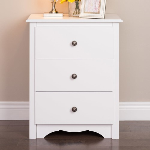 Prepac Monterey 3-Drawer Tall White Nightstand