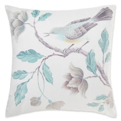 Floral Bird Square Throw Pillow Cover in Aqua