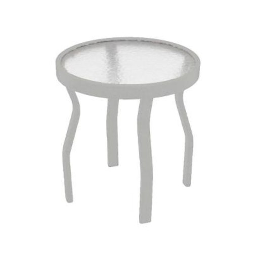 Marco Island 18 in. White Acrylic Top Commercial Metal Outdoor Patio Side Table