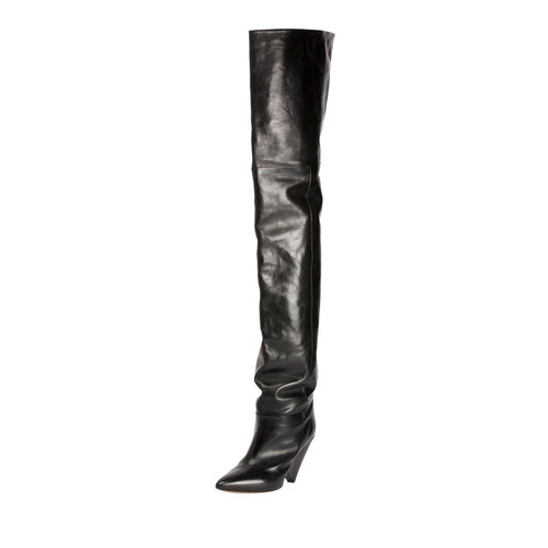 ISABEL MARANT Lokyo Leather Knee-High Boot, Black