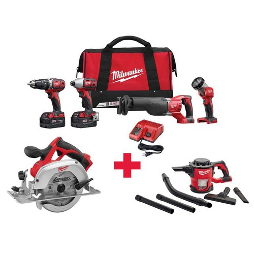 Milwaukee M18 18-Volt Lithium-Ion Cordless Combo Kit (4-Tool) with Free M18 6-1/2 in. Circ Saw and M18 Vacuum