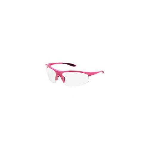 Safety Glasses, Pink Frame & Clear Lens, Soft Rubber Nose Pad