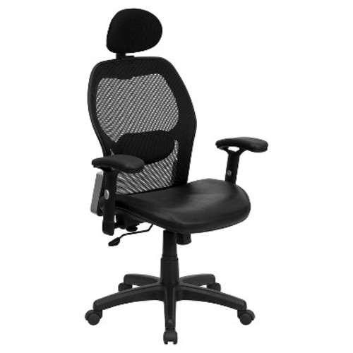 Executive Swivel Office Chair with Leather Padded Seat Black - Flash Furniture