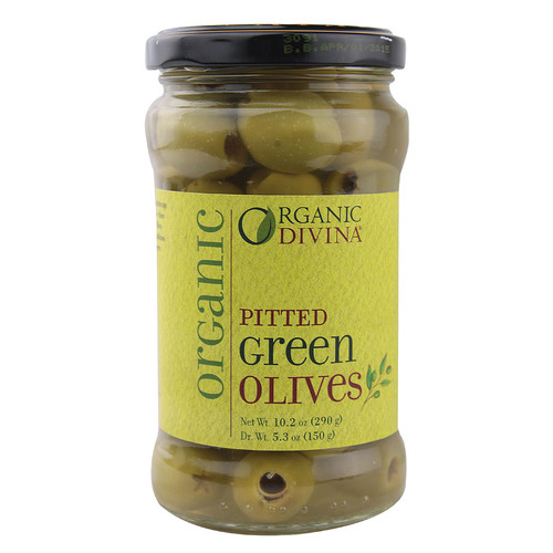 Divina Organic Pitted Green Olives -- 10.2 oz