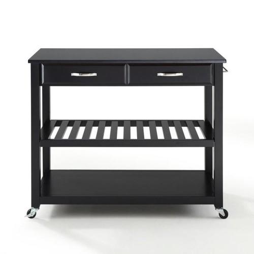 Crosley Black Kitchen Cart With Black Granite Top