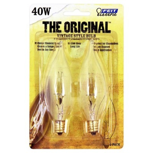 Feit 40-Watt Vintage Chandelier Flame Tip Candelabra Base Incandescent Light Bulb (2-Pack) - Soft White