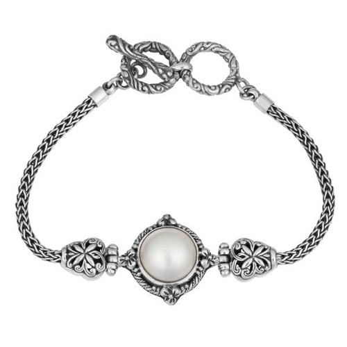 Handmade Sterling Silver, Mabe Pearl Bali Garden Cawi Toggle Bracelet (Indonesia) - Mabe Pearl