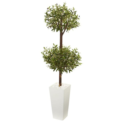 Nearly Natural 5.5 ft. Olive Artificial Double Topiary Tree in White Tower Planter