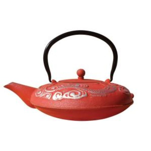 Dutch 40 oz. Red And Silver Cast Iron Nara Teapot