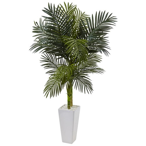 Nearly Natural Indoor Golden Cane Palm Artificial Tree in White Tower Planter