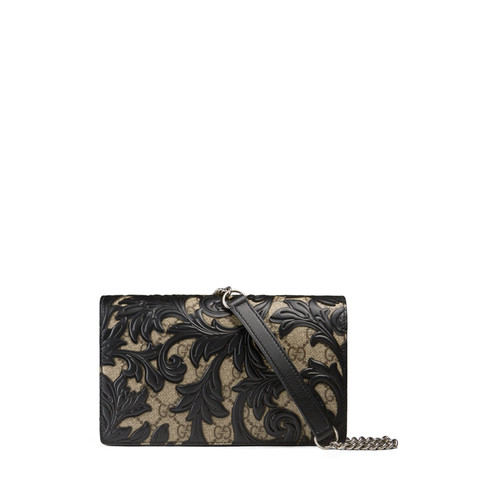 GUCCI Arabesque Canvas Chain Wallet, Brown/Black