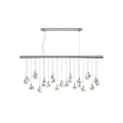 LBL Lighting Bling 26-Light Satin Nickel Clear Suspension Xenon Hanging Chandelier with Crystal Shade