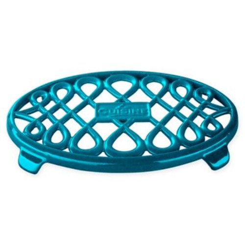La Cuisine Cast Iron 10-Inch x 7-Inch Oval Trivet in Teal