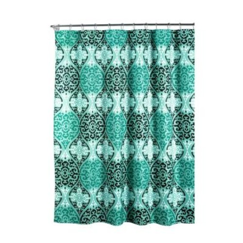 Creative Home Ideas Oxford Weave Textured 70 in. W x 72 in. L Shower Curtain with Metal Roller Rings in Elsa Aqua/Black