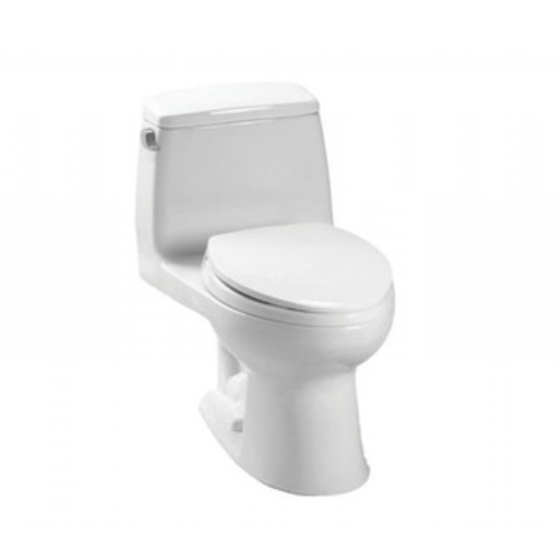 Toto Carlyle II One-Piece Elongated 1.28 GPF Universal Height Skirted Toilet with CeFiONtect MS614114CEFG#01 Cotton White