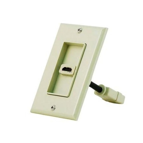 Monoprice1-port 2-piece Inset Wall Plate with 4in Built-in Flexible High Speed HDMI Cable With Ethernet, Beige