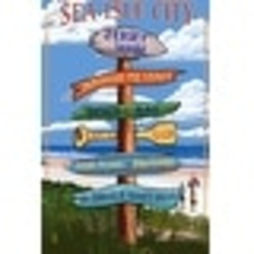 Sea Isle City, New Jersey - Destinations Sign - Lantern Press Artwork (Acrylic Serving Tray)