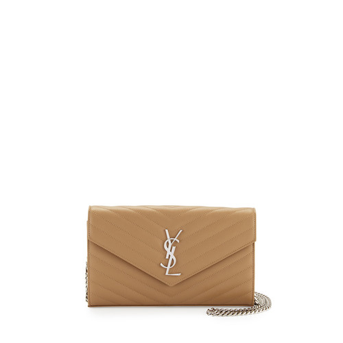 SAINT LAURENT Monogram Matelasse Leather Wallet-On-A-Chain, Beige
