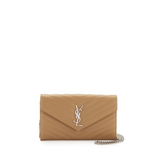 SAINT LAURENT Monogram Matelasse Leather Wallet-On-A-Chain, Beige