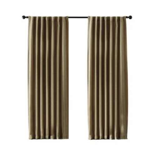 Home Decorators Collection Semi-Opaque Taupe Tweed Room Darkening Back Tab Curtain 50 in. x 108 in.