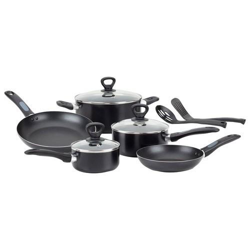 T-Fal - Mirro Get-A-Grip Nonstick 10-Piece Cookware Set - Black
