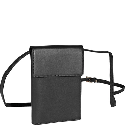 Royce Leather Removable Neck Deluxe Passport Case [Black, One Size]