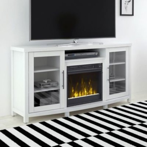 ClassicFlame Rossville Electric Fireplace and TV Stand in White