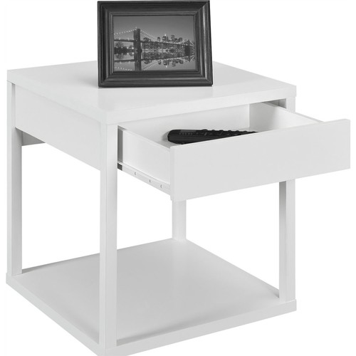Altra Furniture Parsons End Table with Drawer; White Finish