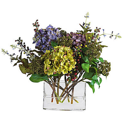 Nearly Natural Mixed Hydrangea Arrangement with Rectangle Vase