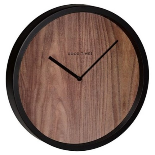 Wood & Black Wall Clock - Noble Supply Co.