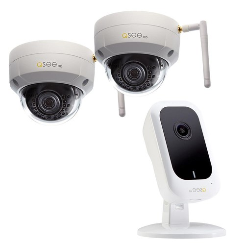 Q-SEE (2) 3MP Wi-Fi IP Dome Surveillance Camera with 3MP Wi-Fi IP Mini Cube Surveillance Camera Security Bundle