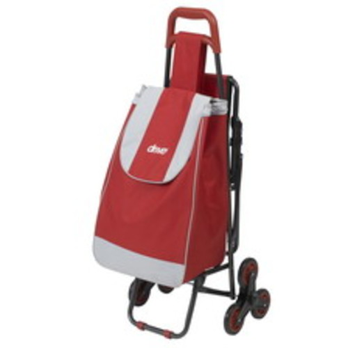 Drive Medical Deluxe Rolling Shopping Cart with Seat, Red