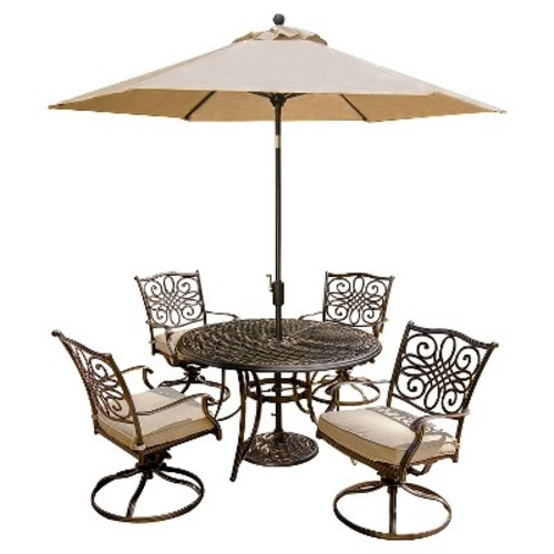 Hanover Outdoor Furniture Traditions 5 Pc. Dining Set of 4 Aluminum Cast Swivel Chairs, 48 in. Round Table, and a Table Umbrella