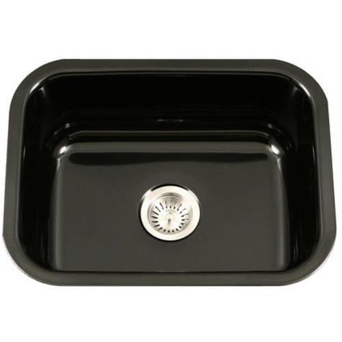 HOUZER Porcela Series Undermount Porcelain Enamel Steel 23 in. Single Bowl Kitchen Sink in Black