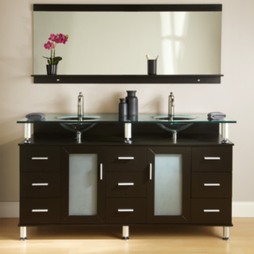 Design Element Ove 60-inch Double Sink Vanity Set with Black Tempered Glass Top