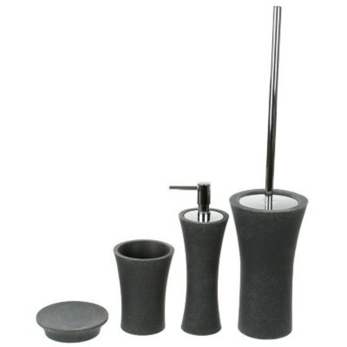 Gedy by Nameeks Aucuba 4-Piece Bathroom Accessory Set; Black