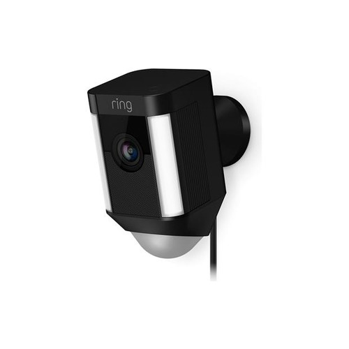 Ring Spotlight Cam Wired (Black) Plug-in security camera with LED spotlights and siren