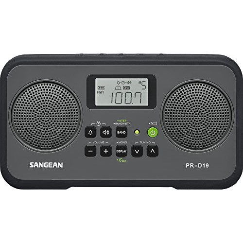 Sangean PR-D19BK FM Stereo/AM Digital Tuning Portable Radio with Protective Bumper